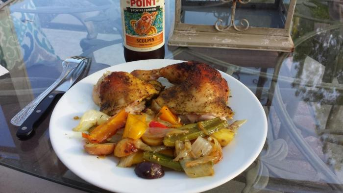 Spatchcock chicken with potatoes and veggies... - Kamado Cooking ...